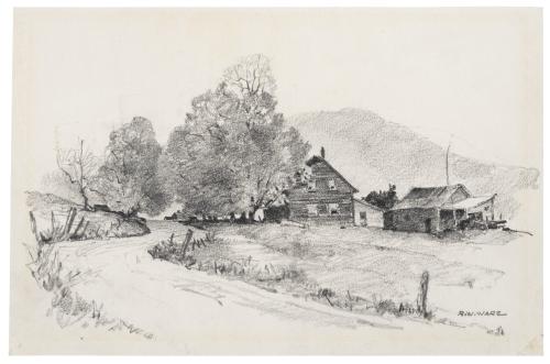 A Vintage Pencil Drawing Rural Landscape Signed R.W. Ware