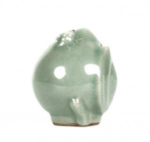 A Korean Celadon Ladybug & Apple Form Signed Porcelain Water Dropper