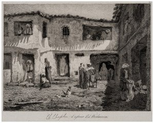 An Antique French Etching Orientalist Scene By Charles Joshua Chaplin