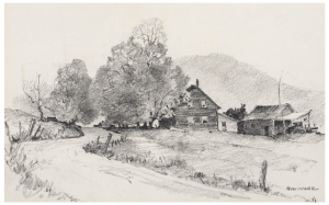 A Vintage Pencil Drawing Rural Landscape Signed R.W. Ware