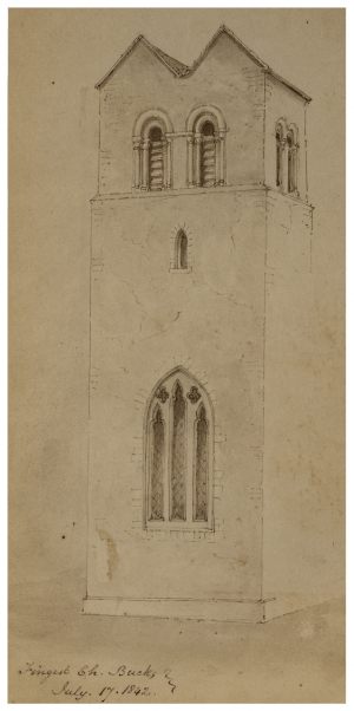 An Antique British School Drawing Fingest Church England July 1842