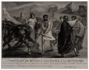 An Early Engraving Nomination De Quintius Cincinatus A La Dictator Grave' Koning