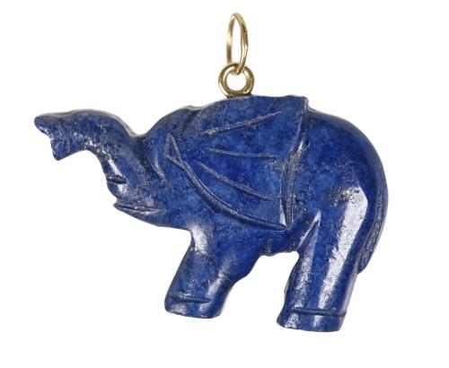 A Vintage Lapis Carved Elephant Pendant