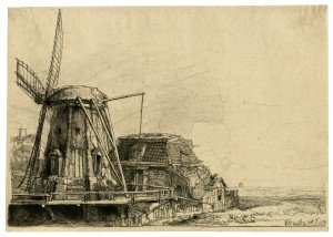 An Antique Etching The Windmill Rembrandt Van Rijn 1641
