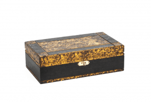 A Wood Grain Painted Federal Style Felt Lined Jewelry Box