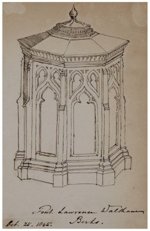 "An Antique British Architectural Study Drawing ""Font Lawrence Waltham 1845"""