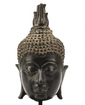 A Bronze Head Of Buddha Sukhobaya Style 13th Century Thailand