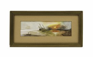 An Antique American School Primitive Folk Art Watercolor Of A Distressed Ship Signed Davis