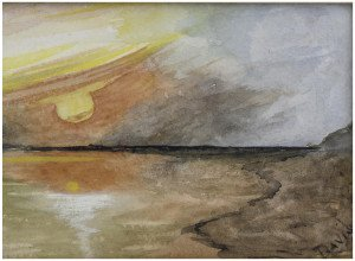 An Antique American School Primitive Folk Art Watercolor Of A Distressed Ship Signed Davis