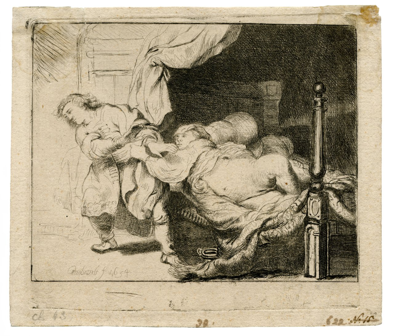 An Antique Etching Rembrandt Harmensz. van Rijn (1606-1669) Joseph and Potiphar's Wife 1634