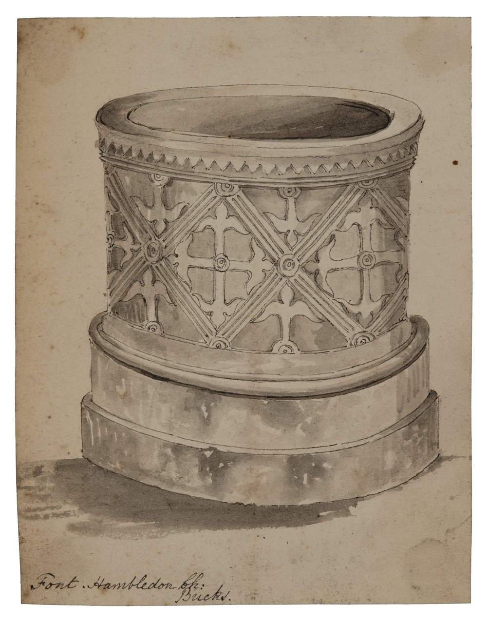 "A 18/19th Century British Architectural Antique Drawing ""Font Hambleton Church"""
