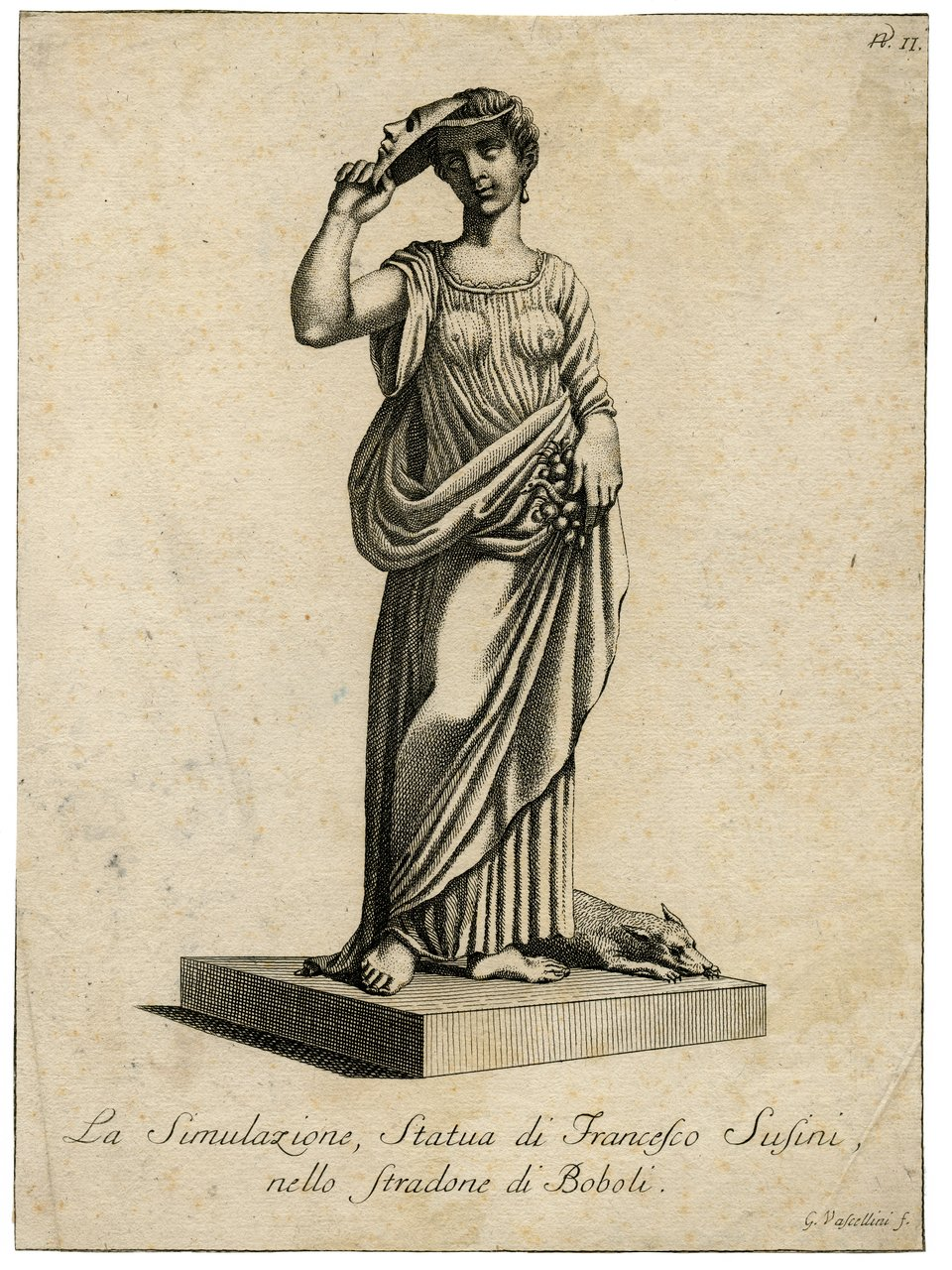 An 18th Century Italian Engraving Of A Sculpture By Fancelli By Gaetano Vascellini