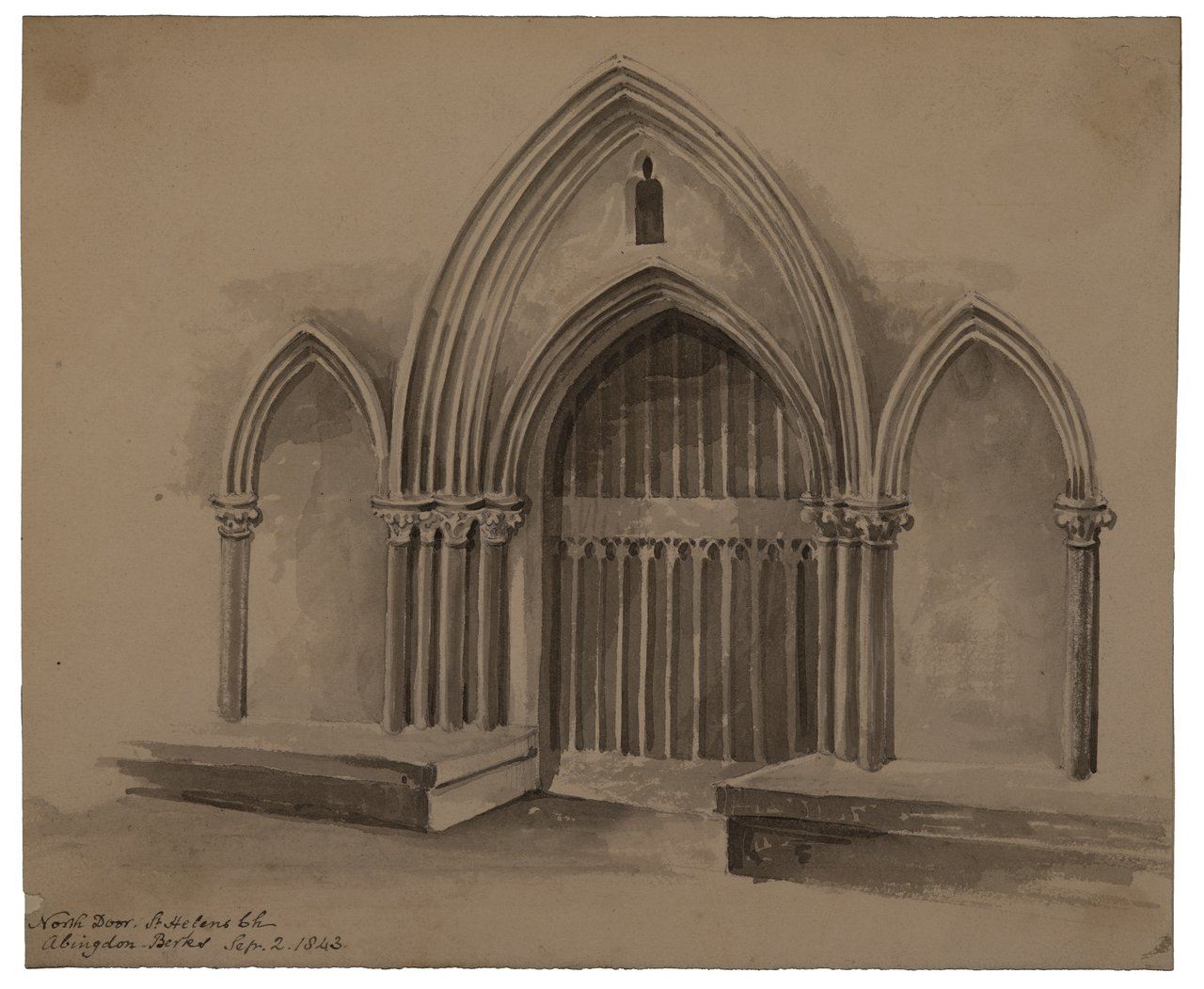 """An Antique British Architectural Drawing """"North Door St. Helens Church 1843"""""""