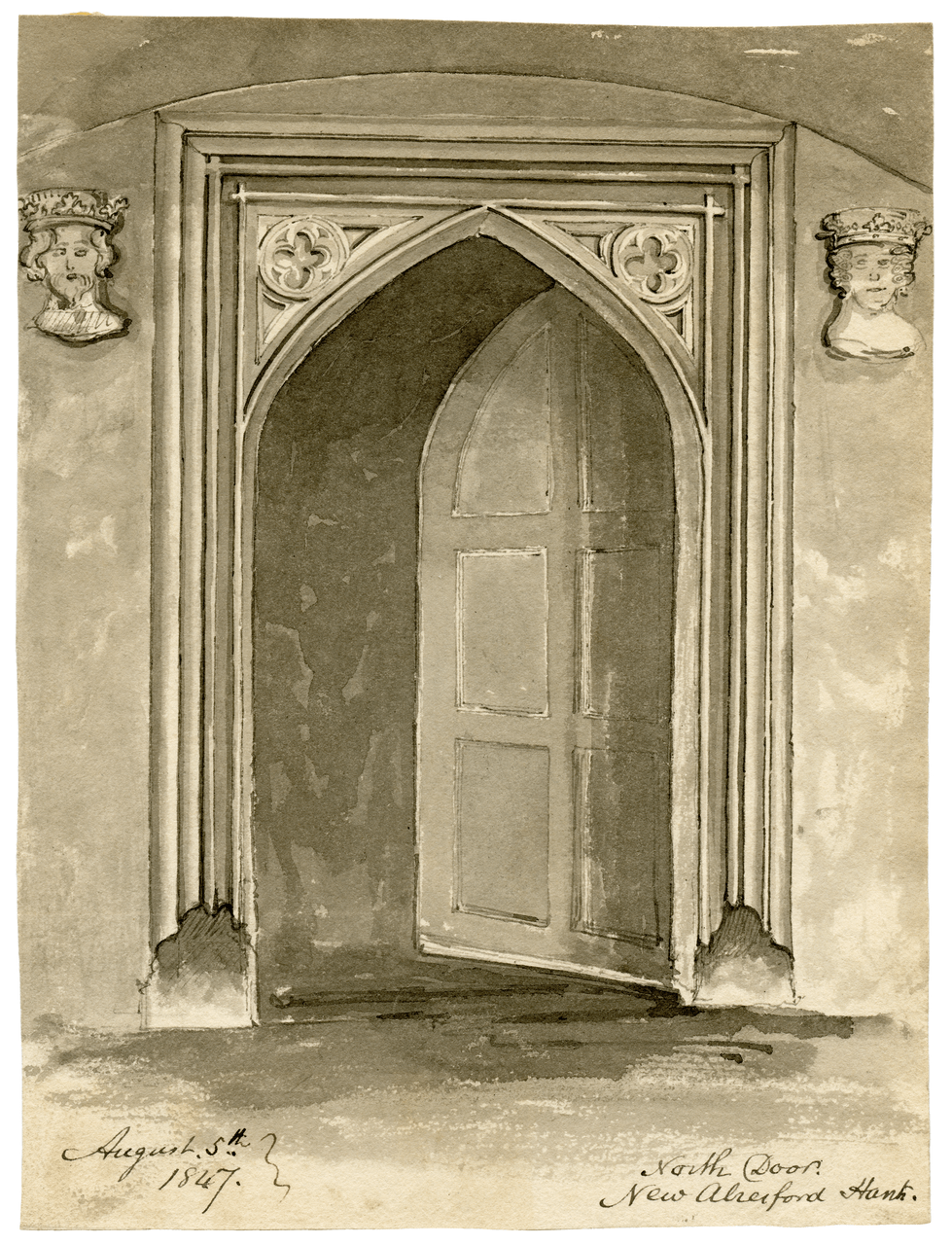Antique British Architectural Drawing August 5th 1847 North Door New Alresford