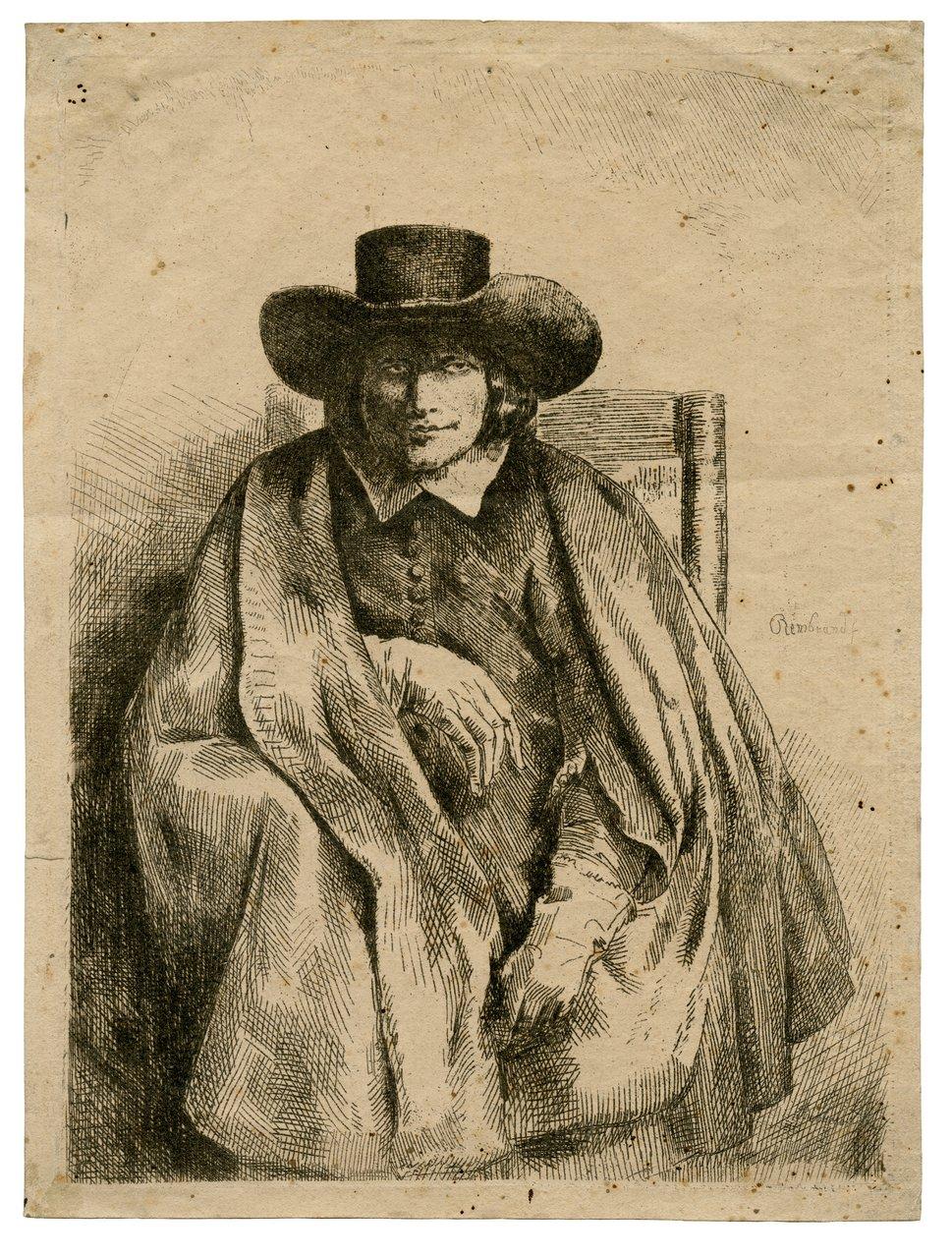 An Antique Etching Clemens De Johghe, Printseller By Rembrandt