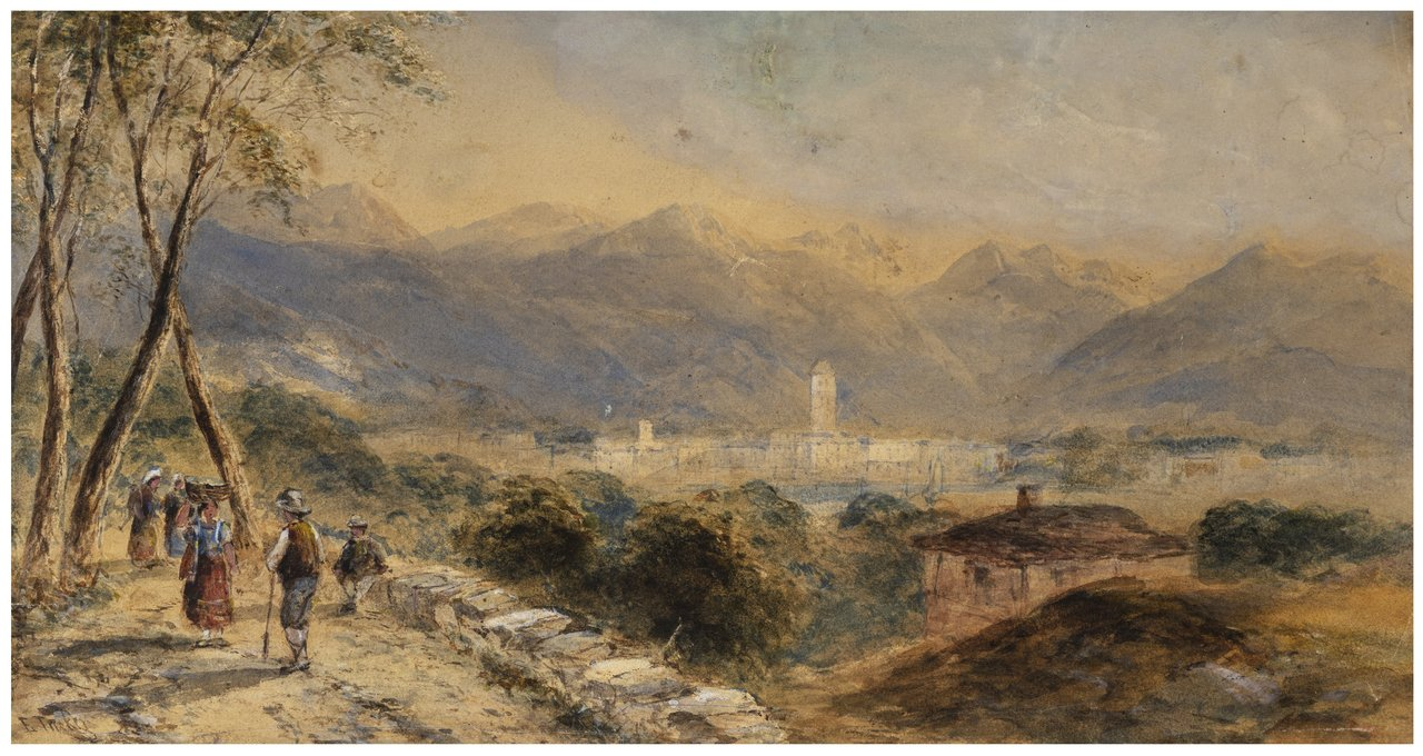 A 19th Century British Landscape Watercolor Painting By Edward Tucker