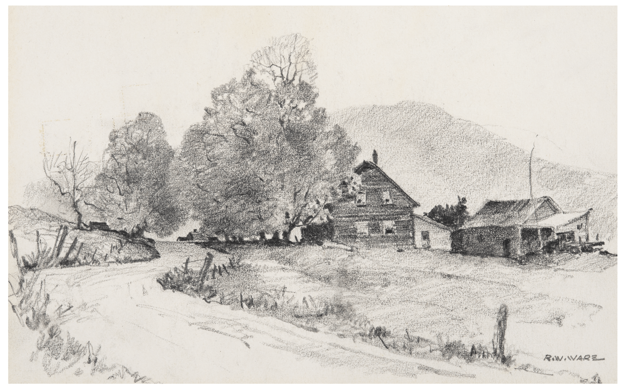 A vintage pencil drawing rural landscape signed r w ware