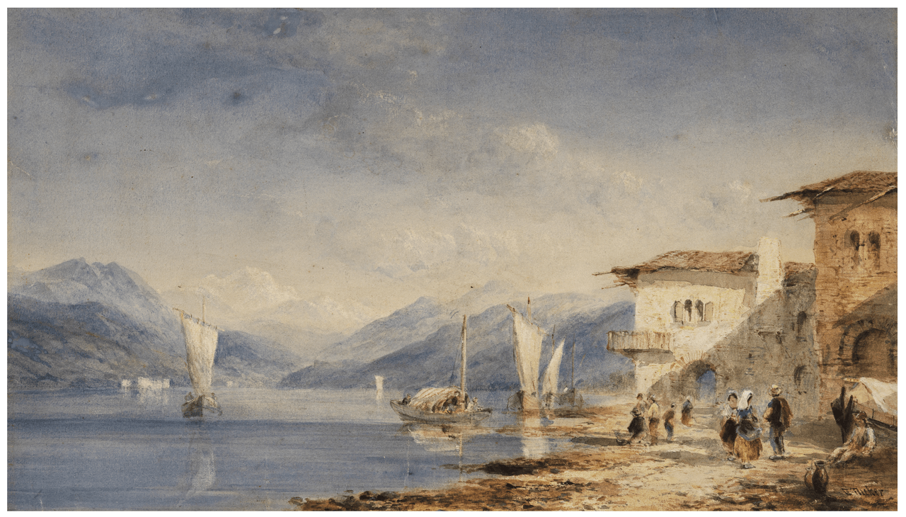 An Antique British School Watercolor Lake Scene Painting By Edward Tucker