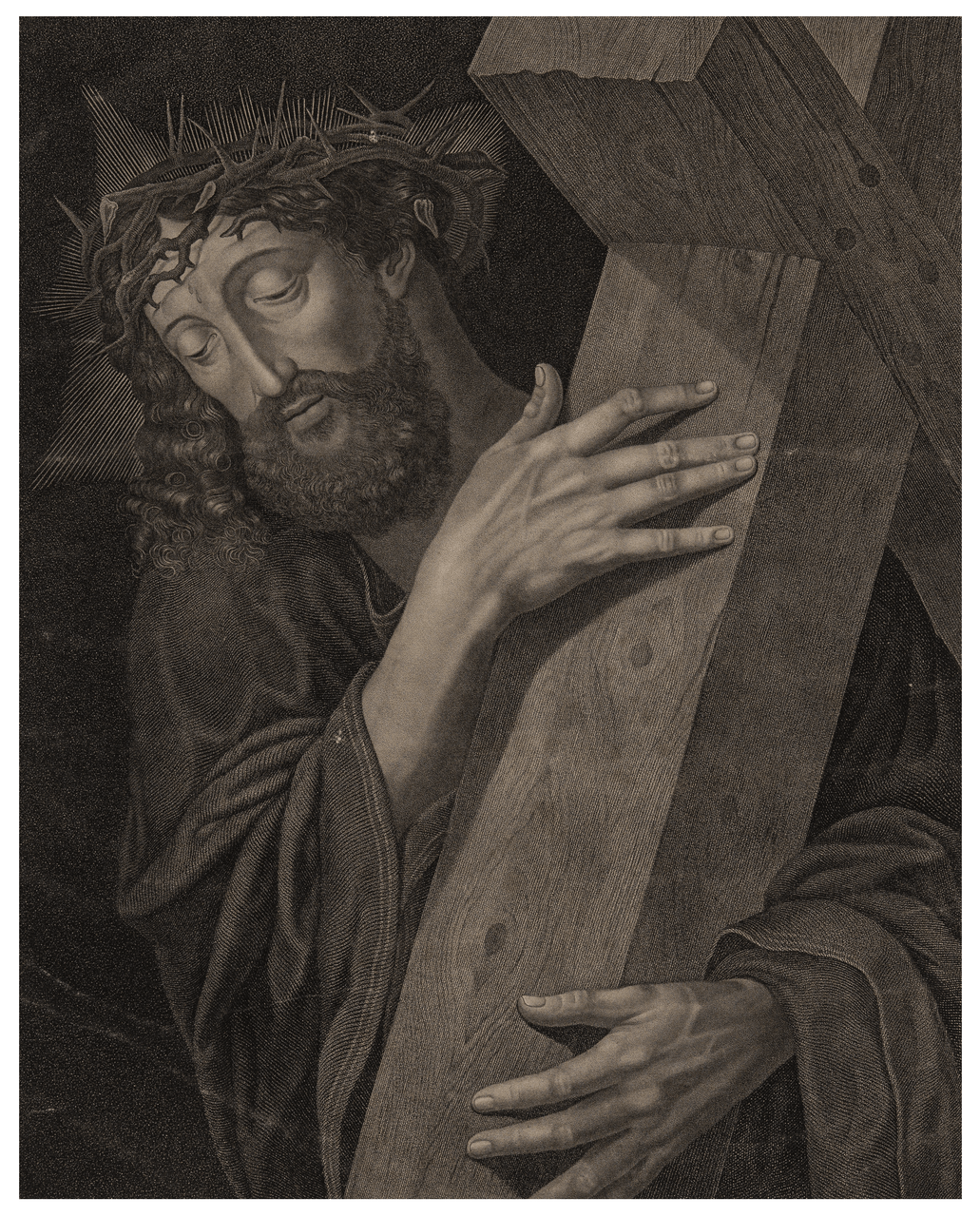An Early German 19th Century Engraving Of Da Vinci's Christ By Albert Reindel