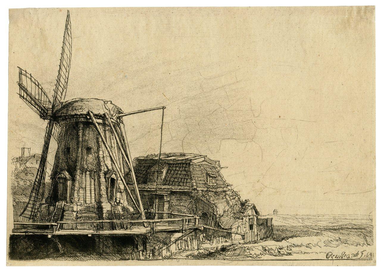 An Antique Etching The Windmill Rembrandt Van Rijn 1641