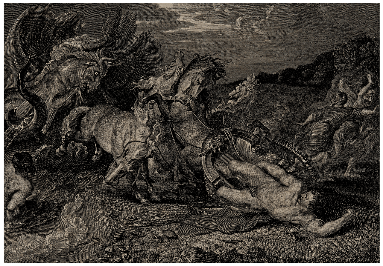 Death Of Hippolytus After Rubens Anker Smith 1810 Antique Engraving