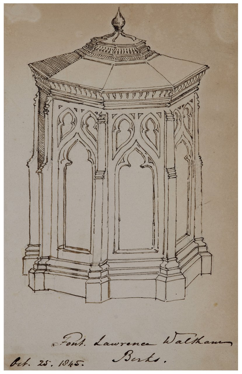 """An Antique British Architectural Study Drawing """"Font Lawrence Waltham 1845"""""""