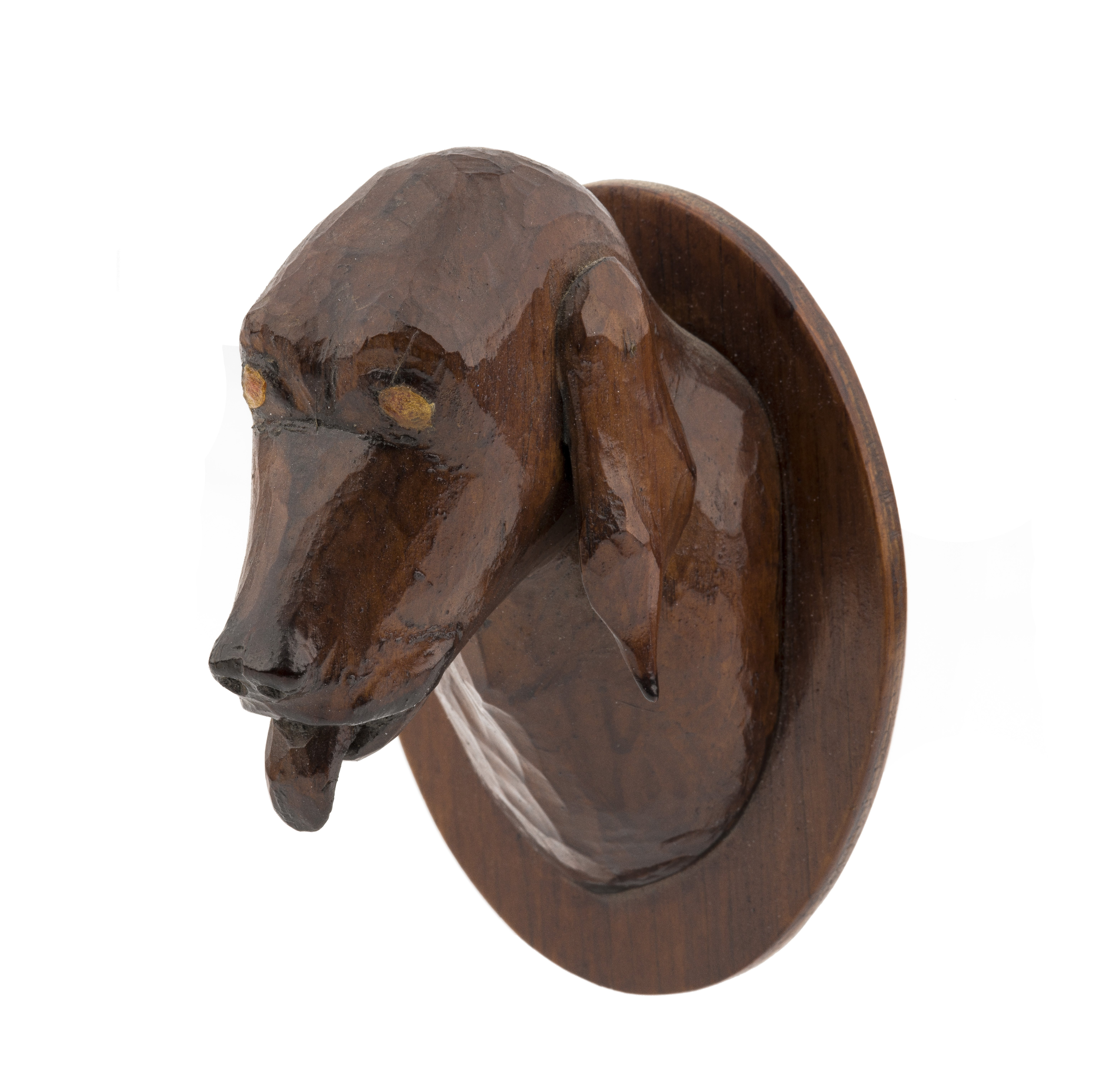 A Vintage Wooden Carved Folk Art Carved Hound Dog  Head