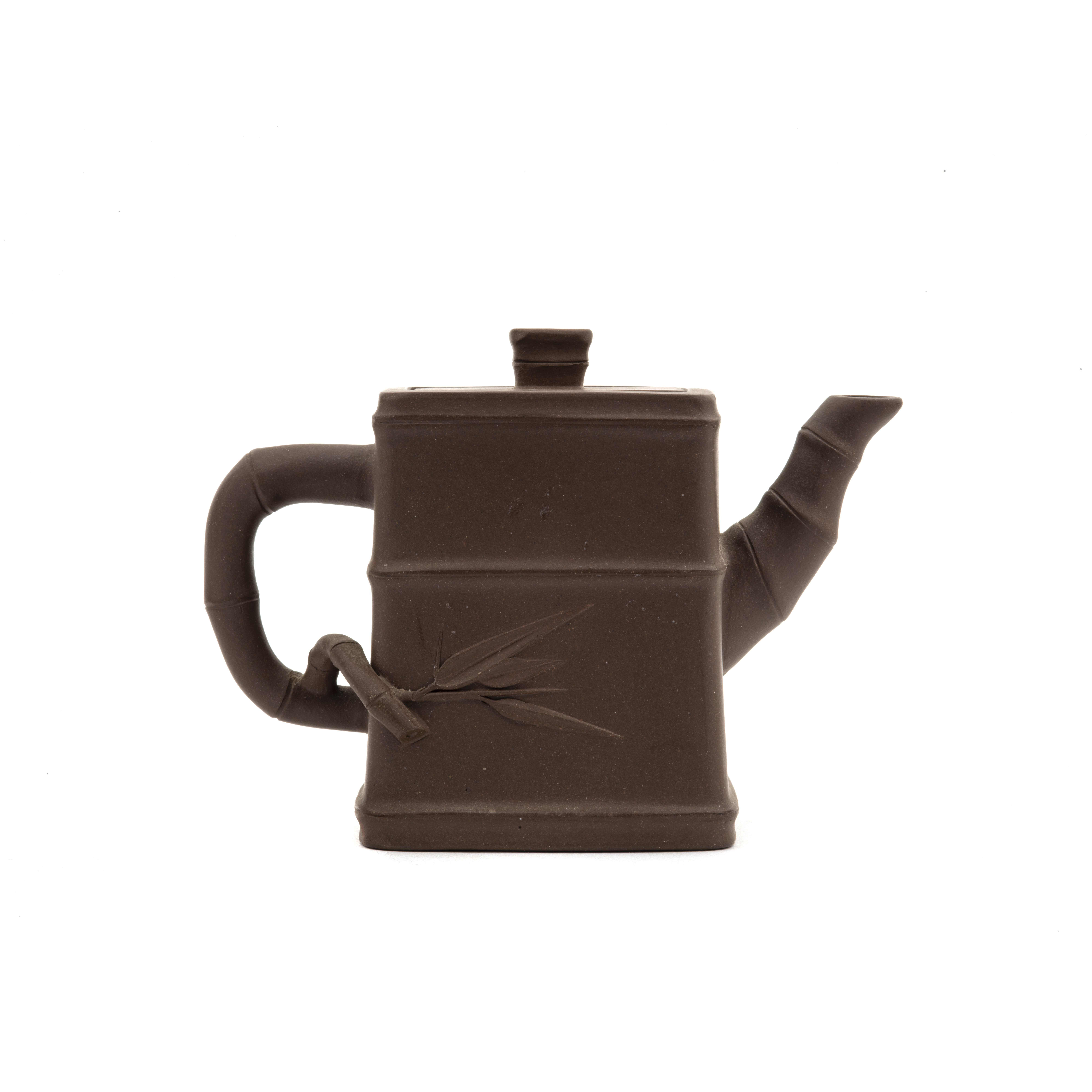Yixing Chinese pottery bamboo form teapot, right side view